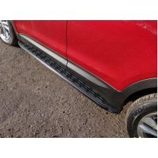 Пороги алюминиевые с пластиковой накладкой (карбон черные)1820 мм код HYUNSF4WD15-20BL