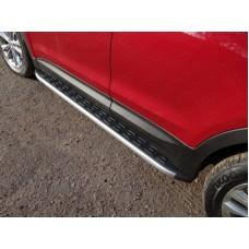 Пороги алюминиевые с пластиковой накладкой (карбон серебро)1820 мм код HYUNSF4WD15-20SL