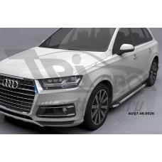 Пороги алюминиевые (Brillant) Audi (Ауди) Q7 (2015-) (серебр) без панорамной крыши