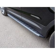 Пороги алюминиевые с пластиковой накладкой (карбон серебро) 1820 мм код HYUNSFGR16-18SL