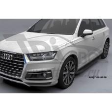 Пороги алюминиевые (Corund Black) Audi (Ауди) Q7 (2015-) без панорамной крыши