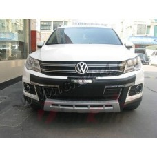 Накладка на передний бампер (пластик ABS). Volkswagen Tiguan