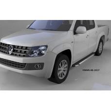 Пороги алюминиевые (Brillant) Volkswagen Amarok (Амарок) (2010-) (черн/нерж)