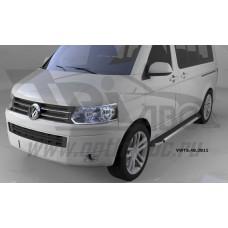 Пороги алюминиевые (Brillant) Volkswagen T5 /T6 Caravelle/Trans. (короткая база) (черн/нерж)