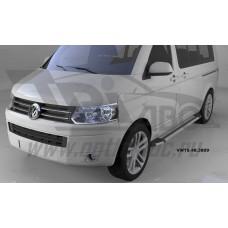 Пороги алюминиевые (Brillant) Volkswagen T5 / T6 Caravelle/Trans. (короткая база) (серебр)