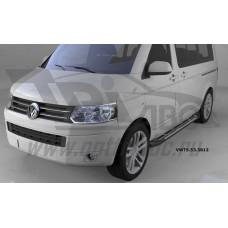 Пороги алюминиевые (Corund Silver) Volkswagen T5 /T6 Caravelle/Trans. (короткая база)