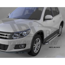 Пороги алюминиевые (Brillant) Volkswagen Tiguan (Тигуан) (2008-) (серебр)