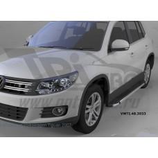 Пороги алюминиевые (Brillant) Volkswagen Tiguan (Тигуан) (2008-) (черн/нерж)