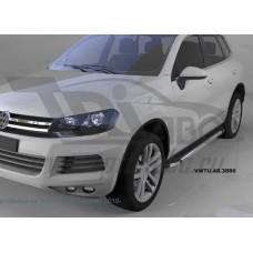 Пороги алюминиевые (Brillant) Volkswagen Touareg (Туарег) (2004-) (черн/нерж)