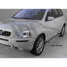 Пороги алюминиевые (Brillant) Volvo (Вольво) XC90 (2006-2015) (серебр)