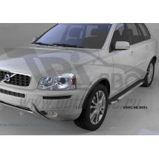 Пороги алюминиевые (Brillant) Volvo (Вольво) XC90 (2006-) (черн/нерж)