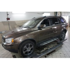 Пороги алюминиевые (Corund Silver) Volvo (Вольво) XC90 (2006-2015)