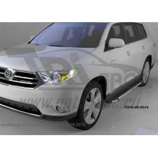 Пороги алюминиевые (Brillant) Toyota Highlander (Тойота Хайлендер) (2010-2013) (черн/нерж)