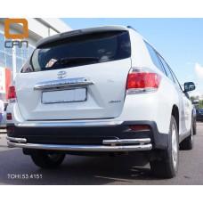 Защита заднего бампера Toyota Highlander (Тойота Хайлендер) (2010-2013) (одинарная с уголками) d 60/