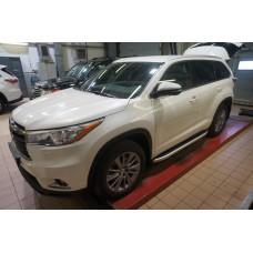 Пороги алюминиевые (Alyans) Toyota Highlander (Тойота Хайлендер) (2014-)