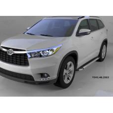 Пороги алюминиевые (Brillant) Toyota Highlander (Тойота Хайлендер) (2014-) (черн/нерж)