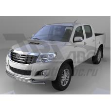 Защита переднего бампера Toyota Hilux (2012-2015) двойная (круг /овал) d 76,1/75х42*