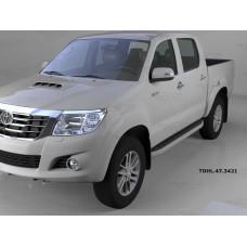 Пороги алюминиевые (Alyans) Toyota HiLux (2012-2015)