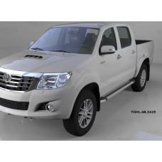 Пороги алюминиевые (Brillant) Toyota HiLux (2012-2015) (серебр)