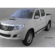 Пороги алюминиевые (Brillant) Toyota HiLux (2012-2015) (черн/нерж)