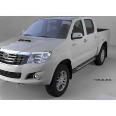 Пороги алюминиевые (Corund Silver) Toyota HiLux(2012-2015)
