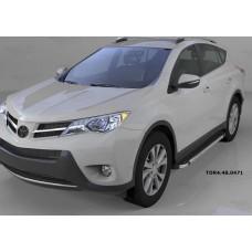 Пороги алюминиевые (Brillant) Toyota RAV4 (Тойота РАВ4) (2013-/ 2015-) (черн/нерж) силовой крепеж