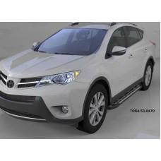 Пороги алюминиевые (Corund Silver) Toyota RAV4 (Тойота РАВ4) (2013-/ 2015-) силовой крепеж