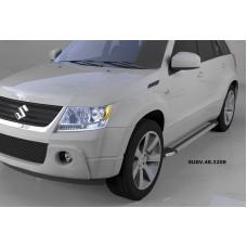 Пороги алюминиевые (Brillant) Suzuki Grand Vitara (2006-2010-) (серебр)