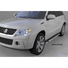 Пороги алюминиевые (Brillant) Suzuki Grand Vitara (2006-2010-) (черн/нерж)