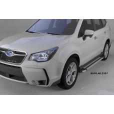 Пороги алюминиевые (Brillant) Subaru Forester (2013-) (серебр)
