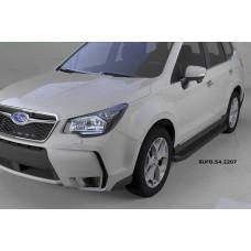 Пороги алюминиевые (Sapphire Black) Subaru Forester (2013-)