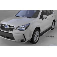 Пороги алюминиевые (Brillant) Subaru Forester (2013-) (черн/нерж)