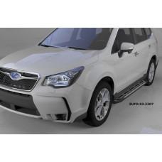 Пороги алюминиевые (Corund Silver) Subaru Forester (2013-)