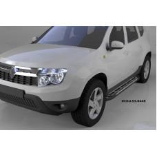 Пороги алюминиевые (Corund Silver) Renault Duster (Рено Дастер) (2012-) / Nissan Terrano (2014-)