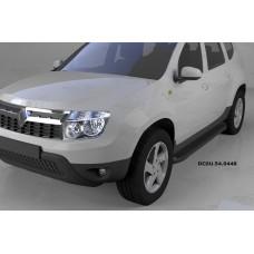 Пороги алюминиевые (Sapphire Black) Renault Duster (Рено Дастер) (2012-) / Nissan Terrano (2014-)