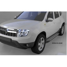 Пороги алюминиевые (Sapphire Silver) Renault Duster (Рено Дастер) (2012-) / Nissan Terrano (2014-)