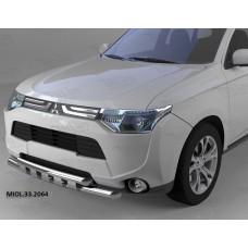 Защита переднего бампера Mitsubishi Outlander (-2014/2014-04.2015) (Shark) d60/60