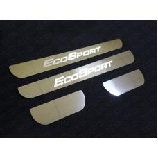 Накладки на пороги (лист зеркальный надпись EcoSport) код FORECOSPOR14-25