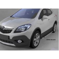 Пороги алюминиевые (Brillant) Opel Mokka (2012-) (черн/нерж)