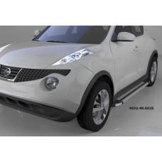 Пороги алюминиевые (Brillant) Nissan Juke (2011-) (серебр)