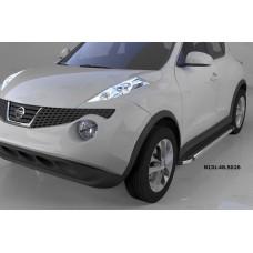Пороги алюминиевые (Brillant) Nissan Juke (2011-) (черн/нерж)