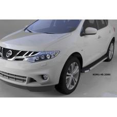 Пороги алюминиевые (Brillant) Nissan Murano (2008-) (черн/нерж)
