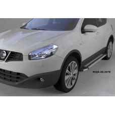 Пороги алюминиевые (Brillant) Nissan Qashqai (Ниссан Кашкай) (2006-2014) (серебр)