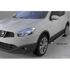 Пороги алюминиевые (Brillant) Nissan Qashqai (Ниссан Кашкай) (2006-2014) (черн/нерж)