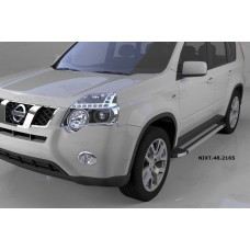 Пороги алюминиевые (Brillant) Nissan X-Trail (Ниссан Икстрейл) (2007-2010-2014) (серебр)
