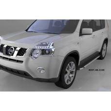 Пороги алюминиевые (Brillant) Nissan X-Trail (Ниссан Икстрейл) (2007-2010-2014) (черн/нерж)