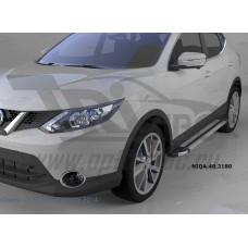 Пороги алюминиевые (Brillant) Nissan Qashqai (Ниссан Кашкай) +2 (2009-2014) (серебр)