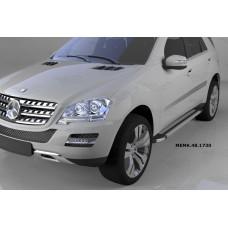 Пороги алюминиевые (Brillant) Mercedes ML W164 (2006-2011) (серебр)