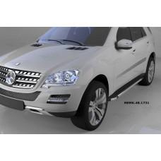 Пороги алюминиевые (Brillant) Mercedes ML W164 (2006-2011) (черн/нерж)