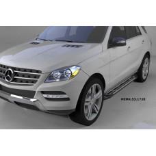 Пороги алюминиевые (Corund Silver) Mercedes ML W166 (2011-)
